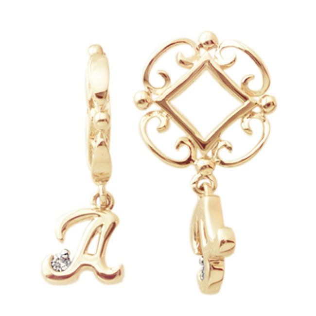 267557-Storywheels Initials 'A' Dangle with Diamond 14K Gold Wheel-ONLY 3 LEFT!