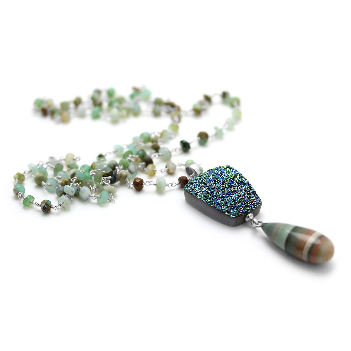 Peruvian Opal & Drusy Necklace-235-603