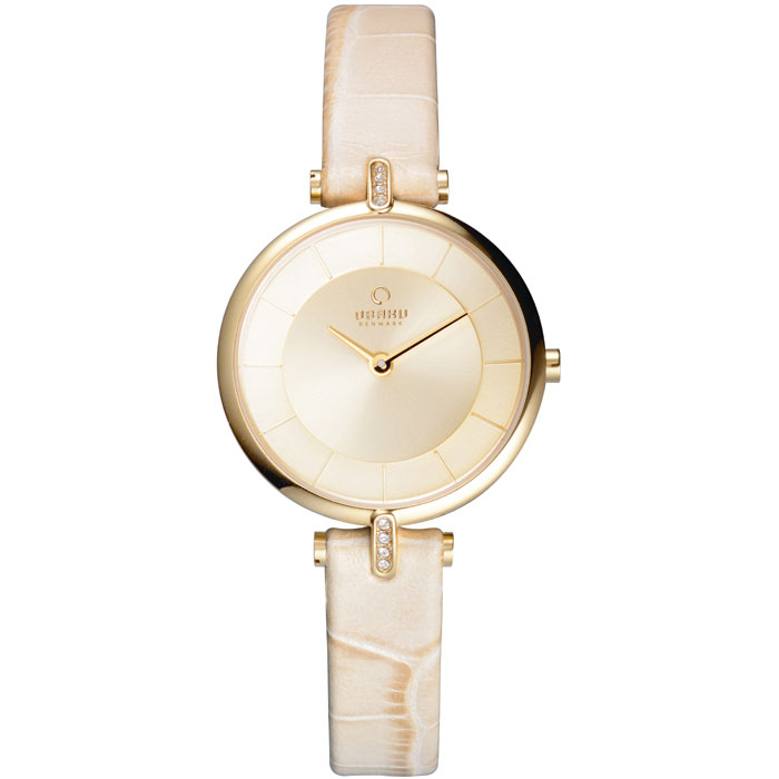 500-32-Obaku Women's Ivory Crocodile Leather Watch