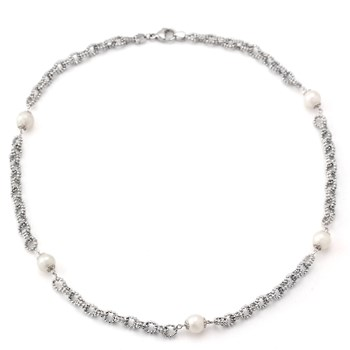 Elegant Pearl and Silver Necklace-341326