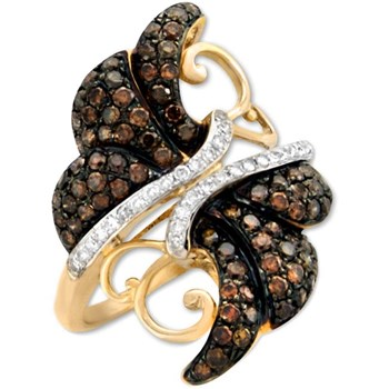 Cognac Diamond Butterfly Ring-328456