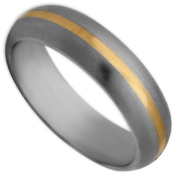 -Edward Mirell Men's Gold Inlay Titanium & 14K Ring