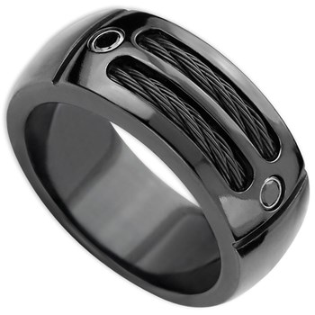 Edward Mirell Men's Cable Sport Black Titanium & Black Spinel Ring