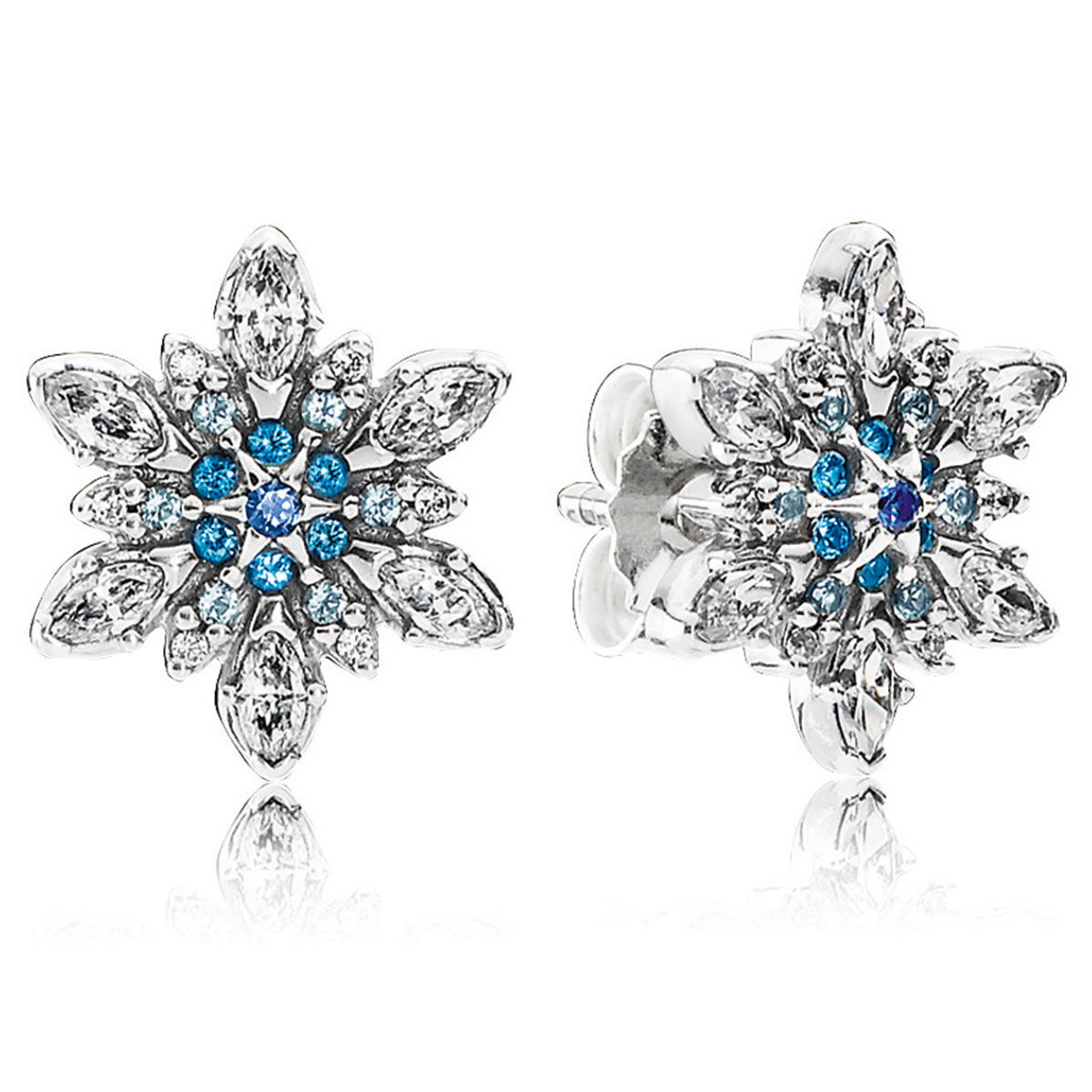 804-427-PANDORA Crystalized Snowflake with Blue Crystals & Clear CZ Earrings