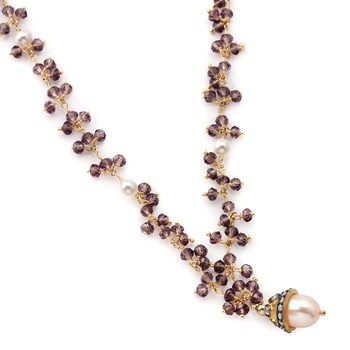 Amethyst & Pearl Necklace-235-465