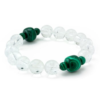 Clear & Green Stretch Bracelet-655-3305