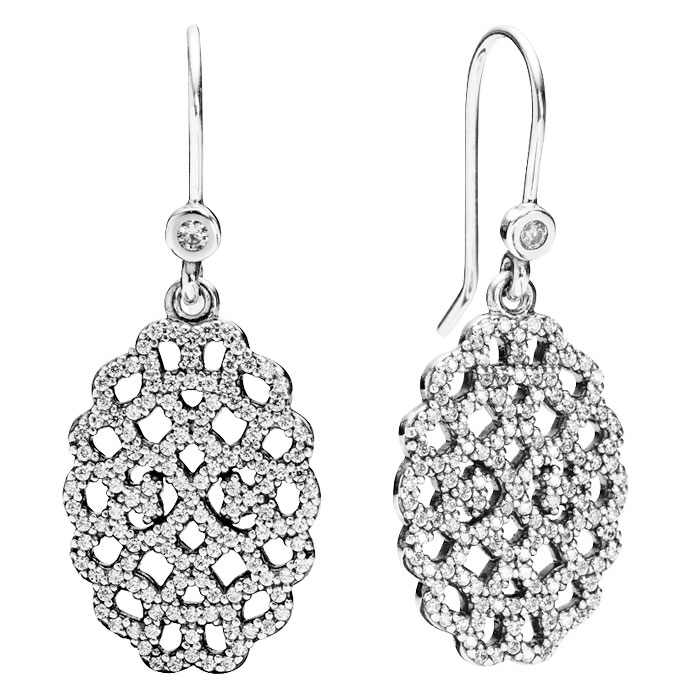 347050-PANDORA Shimmering Lace with Clear CZ Dangle Earrings RETIRED LIMITED QUANTITIES!