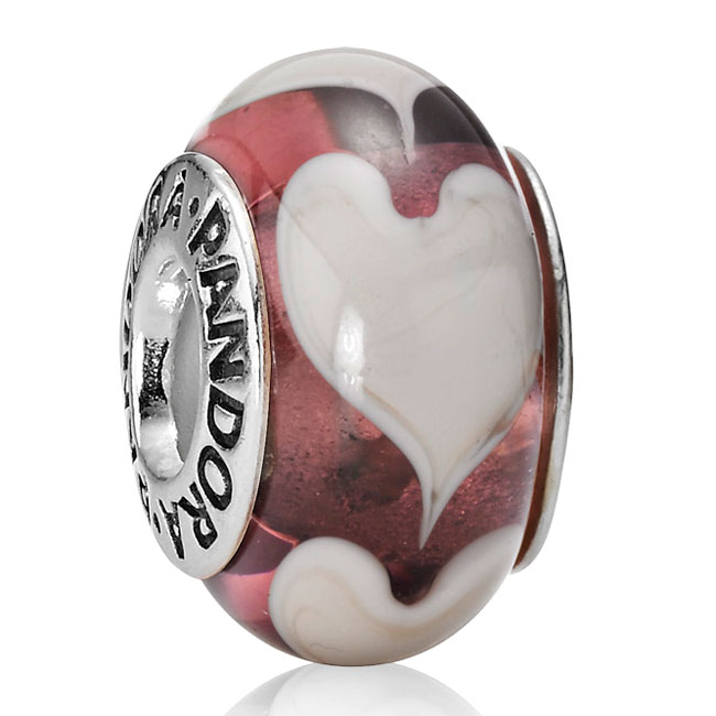 330695-PANDORA Violet Love Grey Hearts Murano Glass RETIRED LIMITED QUANTITIES!