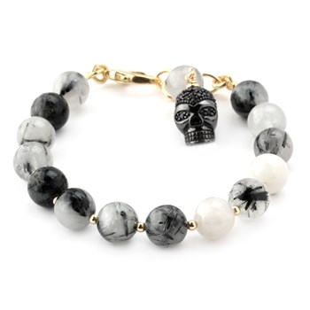 Lollies Black Rutilated Quartz Skull Bracelet 346007