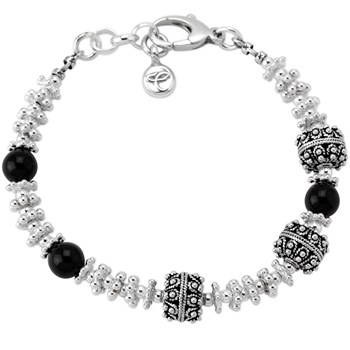 Smooth Onyx and Sterling Silver Bracelet-341889