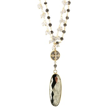 Maltese Cross & Pyrite Necklace-349348