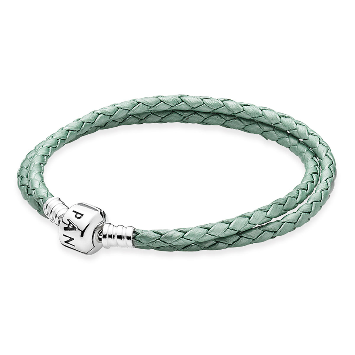 PANDORA Green Double Braided Leather Bracelet LIMITED EDITION