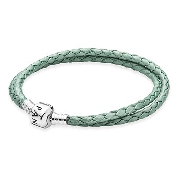 PANDORA Green Double Braided Leather Bracelet LIMITED EDITION RETIRED