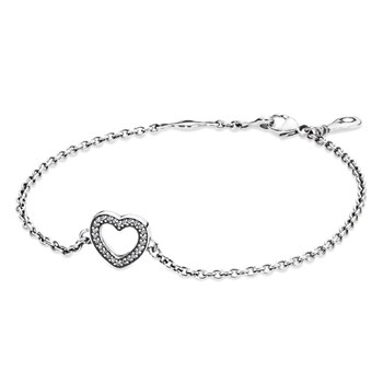 PANDORA Symbol of Love Heart with Clear CZ Bracelet