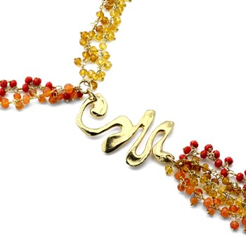 Carnelian & Citrine Fiery Necklace-235-527