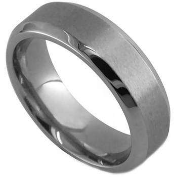 -Edward Mirell Men's Gray Titanium Band Ring