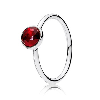 PANDORA July Droplet with Synthetic Ruby Ring