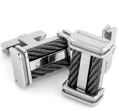 340770-Edward Mirell Signature Cable Titanium Cufflinks
