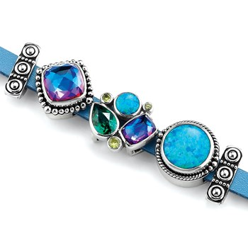 342707-Lori Bonn Mad About Blue Leather Slide Charm Bracelet ONLY 1 LEFT!
