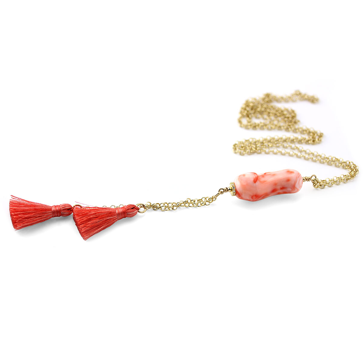 Coral Tassel Necklace-235-602