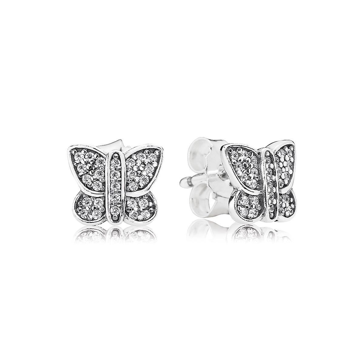 804-383-PANDORA Sparkling Butterfly with Clear CZ Stud Earrings