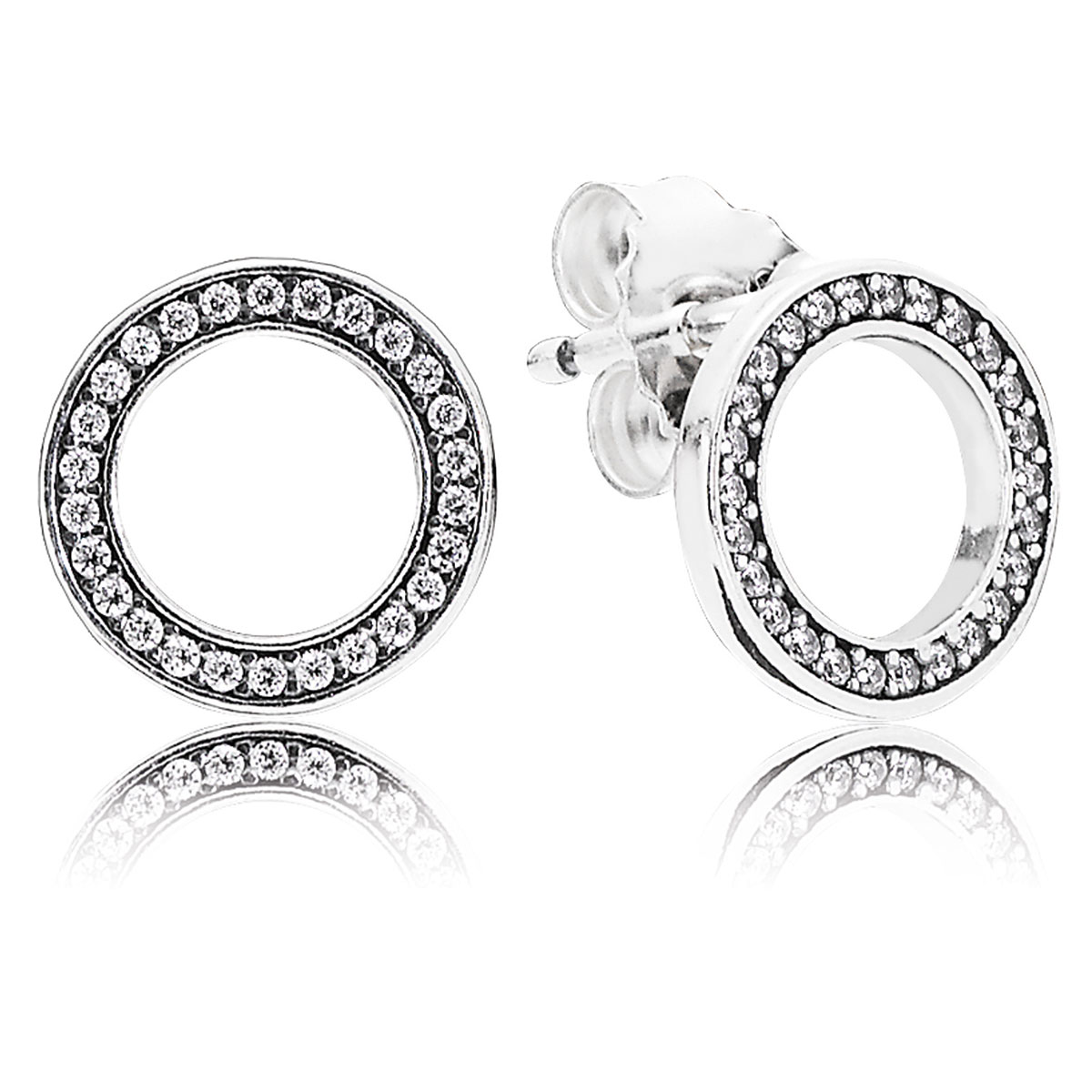 804-421-PANDORA Forever PANDORA with Clear CZ Stud Earrings