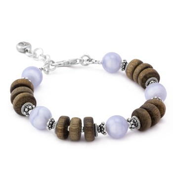 Blue Lace Agate with Wood Bracelet