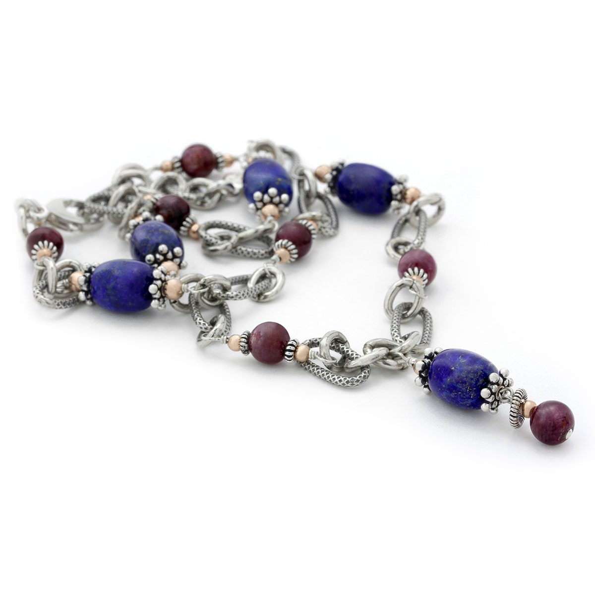 235-629-Star Ruby & Lapis Necklace