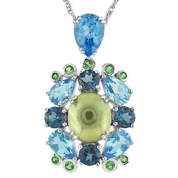 Limon Quartz, Blue Topaz & Tsavorite Necklace-341998