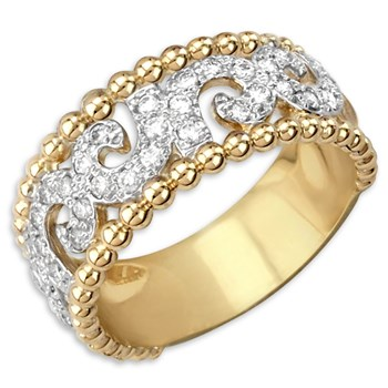 340547-Beaded Swirl Diamond Ring