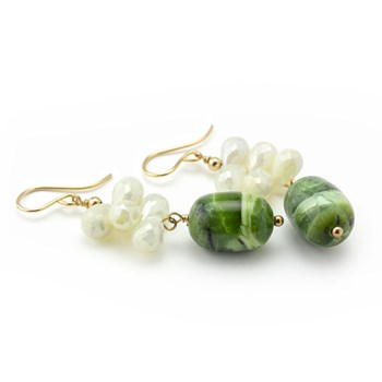 Green Opal & Silverite Earrings-210-785