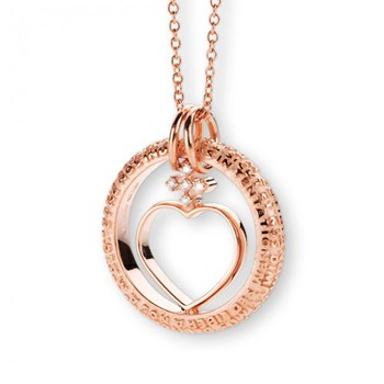 Our Father Rose Gold & Diamond Heart Necklace