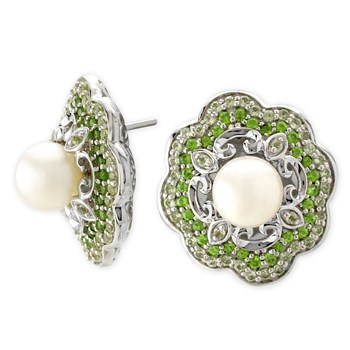 Peridot and Pearl Flower Earrings-341323