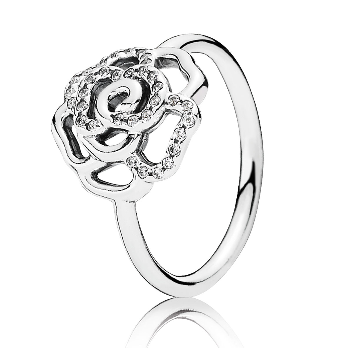 PANDORA Shimmering Delicate Rose with Clear CZ Ring