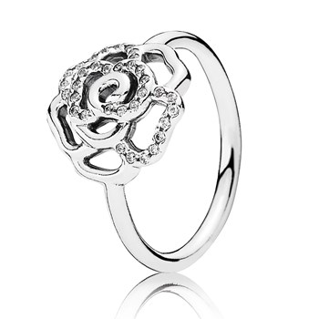 PANDORA Shimmering Delicate Rose with Clear CZ Ring RETIRED