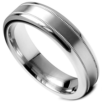 Edward Mirell Men's Gray Titanium Band Ring