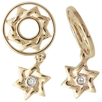 266048-Storywheels Diamond Star of David Dangle 14K Gold Wheel ONLY 5 AVAILABLE!