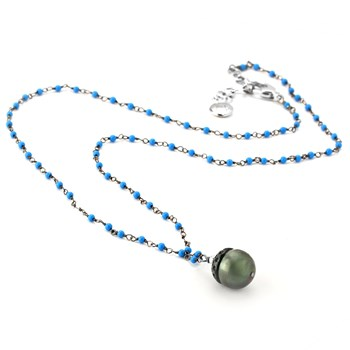 Black Pearl & Turquoise Necklace-347614
