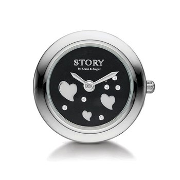 STORY by Kranz & Ziegler Sterling Silver Heart Sparkle Clock Button