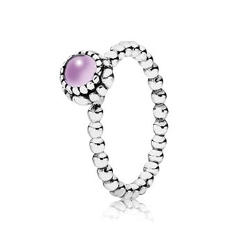 PANDORA Amethyst February Birthday Bloom Stackable Ring