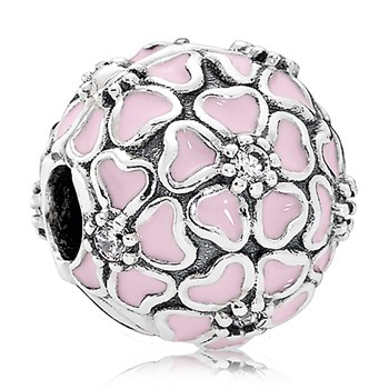 PANDORA Cherry Blossom with Soft Pink Enamel and Clear CZ Clip