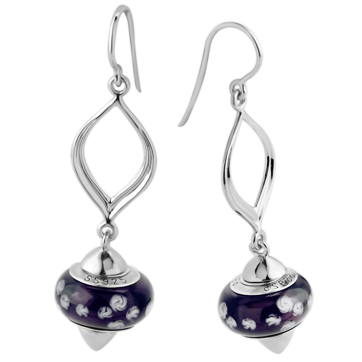 342110-Galatea Interchangeable Oval Earrings with Purple & White Beads