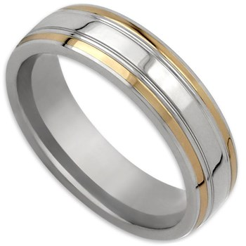 Edward Mirell Men's Gold Inlay Titanium & 14K Ring