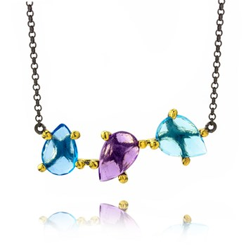 Blue Topaz and Amethyst Bar Neckalce-655-3407