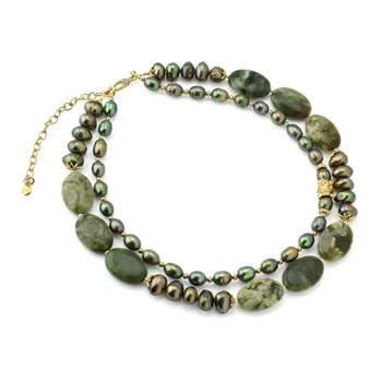 Green Jade & Pearl Necklace-235-514