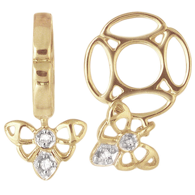 292924-Storywheels Bee with Diamond Dangle 14K Gold Wheel ONLY 3 AVAILABLE!