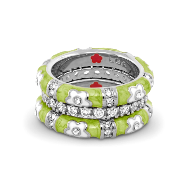 344451-Green 'Daisy Love' Ring Set