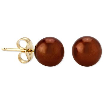 344065-Chocolate Pearl Stud Earrings