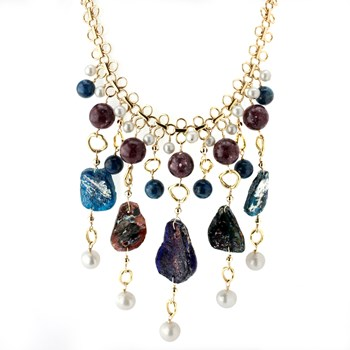 Roman Glass, Pearl and Lapidolite Necklace-346371