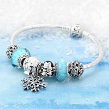 1245-PANDORA Let It Snow Charm Bracelet